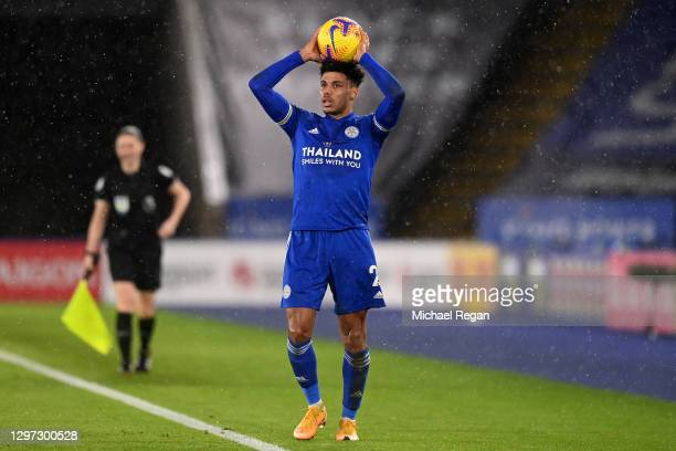 James Justin of Leicester City prepares to take a throw in during the Premier League match between Leicester City and Chelsea at The King Power...
