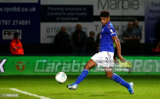 James Justin of Leicester City scores his teams second goal during the Carabao Cup Third Round match between Luton Town and Leicester City at...