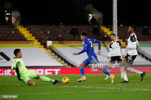 James Justin of Leicester City scores his team's second goal during the Premier League match between Fulham and Leicester City at Craven Cottage on...