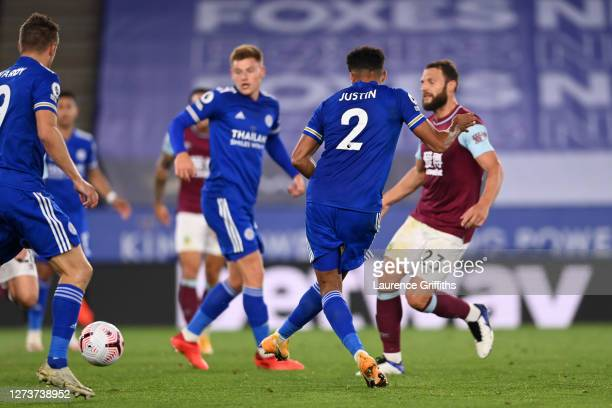 James Justin of Leicester City scores his team's third goal during the Premier League match between Leicester City and Burnley at The King Power...