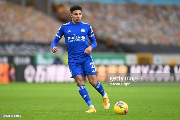 James Justin of Leicester in action during the Premier League match between Wolverhampton Wanderers and Leicester City at Molineux on February 07,...