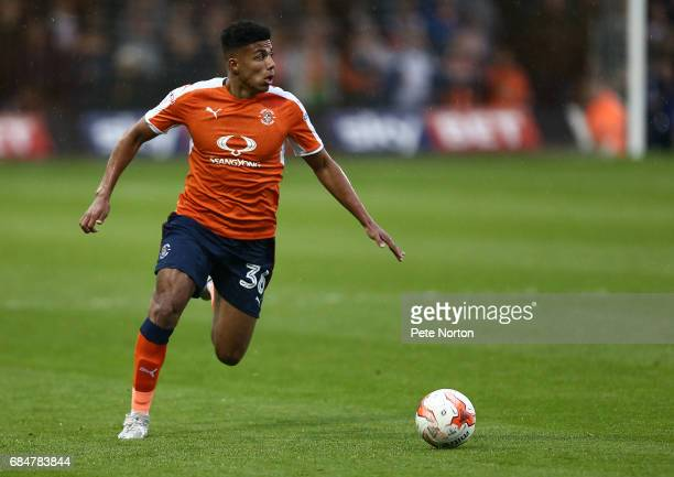 James Justin of Luton Town in action during the Sky Bet League Two Play off Semi Final: Second Leg match between Luton Town and Blackpool at...