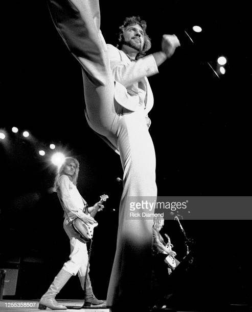"""James """"JY"""" Young, Dennis DYoung and Tommy Shaw of STYX performs during Z-93 & U.S. Marines Toys for Tots at The OMNI Coliseum in Atlanta Georgia,..."""