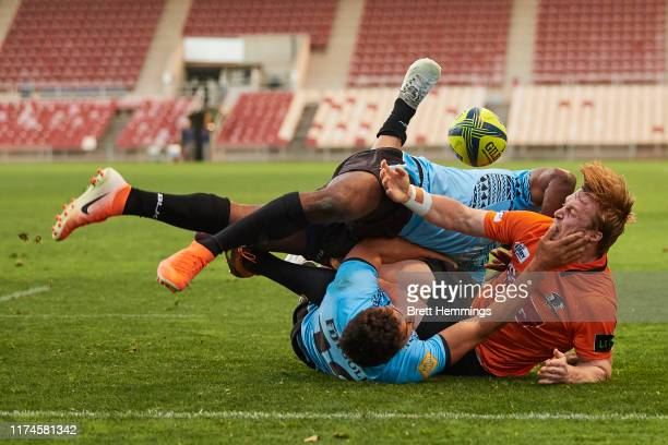 James Kane of NSW Country is tackled during the Round 3 NRC match between NSW Country and Fiji Drua at WIN Stadium on September 14 2019 in Wollongong...