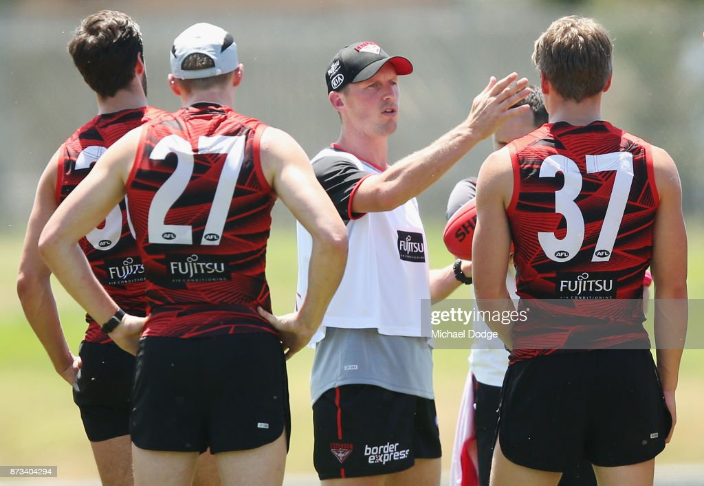 James Kelly of the Bombers instructs players during an Essendon Bombers AFL training session at the Essendon Football Club on November 13, 2017 in Melbourne, Australia.