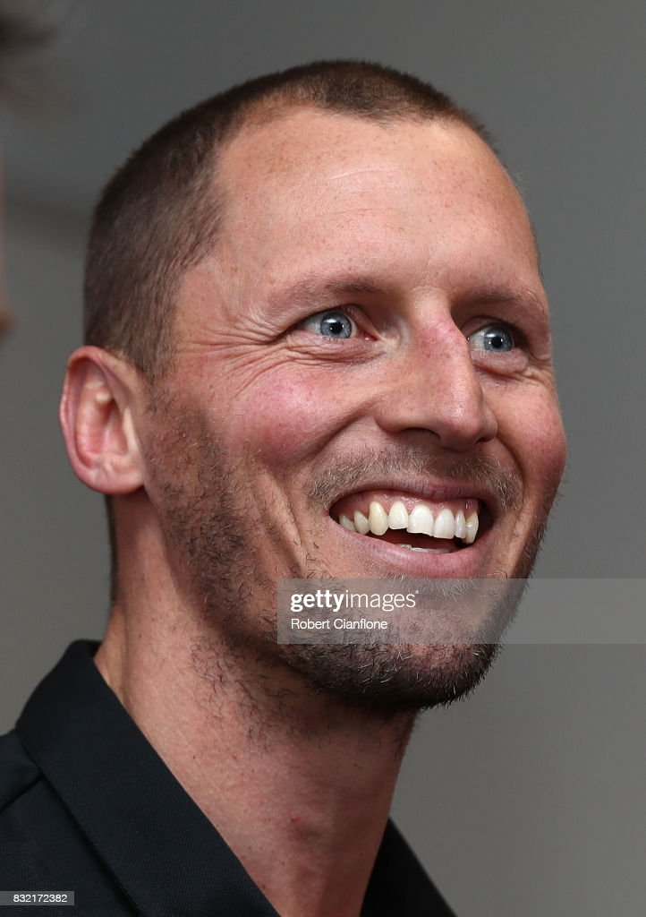 James Kelly of the Bombers speaks to the media during a press conference to announce his retirement at the Essendon Football Club on August 16, 2017 in Melbourne, Australia.