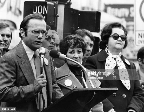 James Kelly of the South Boston Information Center speaks during an antibusing parade at Perkins Square in South Boston on Nov 6 1977 Boston City...