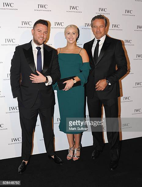James Kennedy and Mark Bouris attend the launch of IWC Schaffhausen's pilots watch launch at Sydney Theatre Company on May 5 2016 in Sydney Australia