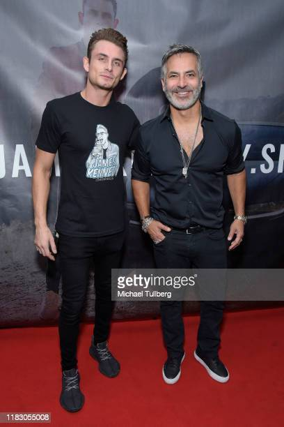 James Kennedy and restaurant owner Guillermo Zapata attend the Los Angeles launch party for JamesKennedyshop at SUR Lounge on October 23 2019 in Los...