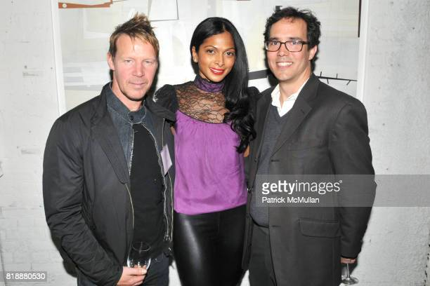 James Kennedy Nina Mannel and Stephan Fowlkes attend KiptonART Presents URBAN UTOPIA with SORGENTE Group at 32 Greene St on April 28 2010 in New York...
