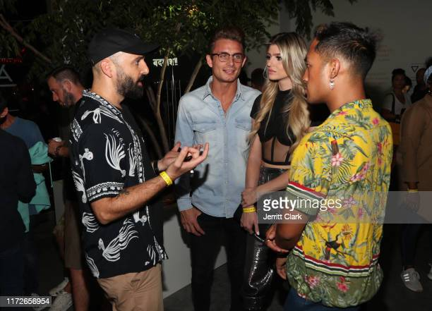 James Kennedy Raquel Leviss and Jessie Montana get a product demonstration at Airgraft's Art Of Clean Vapor PopUp Launch Party on September 05 2019...
