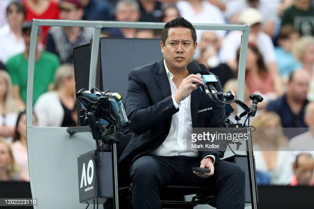 James Keothavong chair umpires the Men's Singles fourth round match between Rafael Nadal of Spain and Nick Kyrgios of Australia on day eight of the...