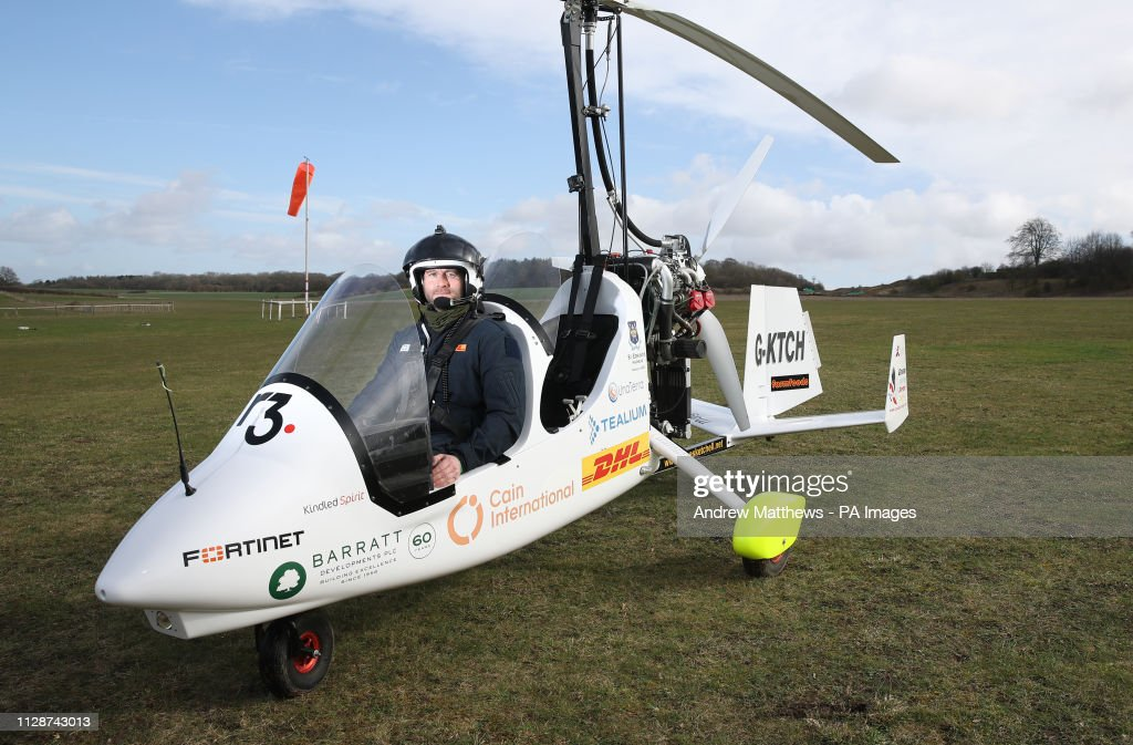 James Ketchell in his open cockpit gyrocopter at Popham