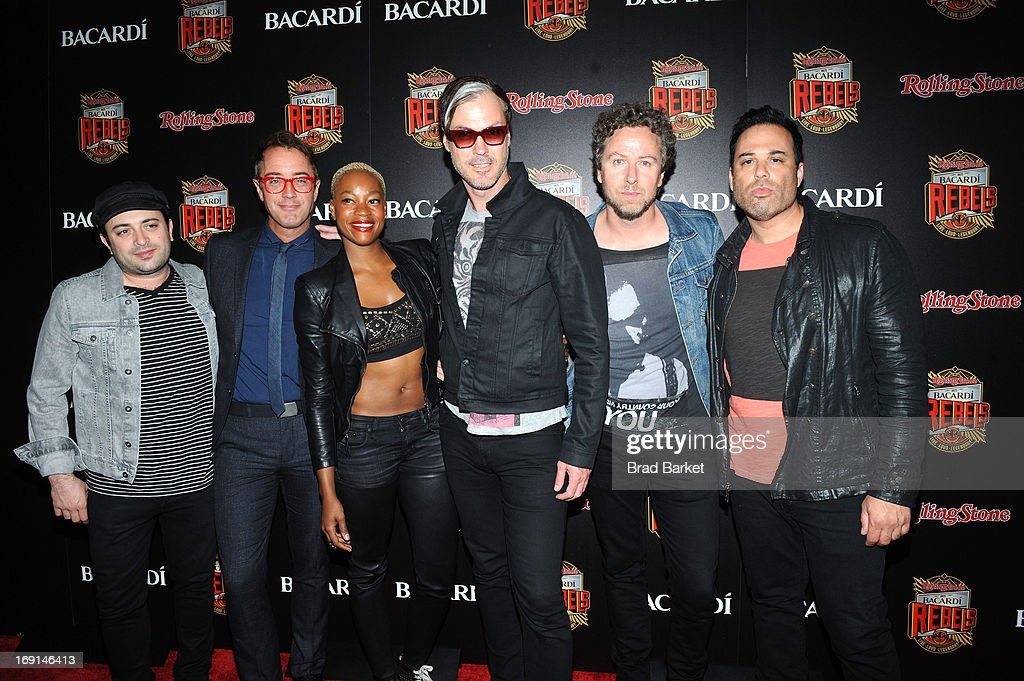 James King, John Wicks, Noelle Scaggs, Michael Fitzpatrick, Joseph Karnes and Jeremy Ruzumna of Fitz And The Tantrums attend Rolling Stone hosts Bacardi Rebels at Roseland Ballroom on May 20, 2013 in New York City.