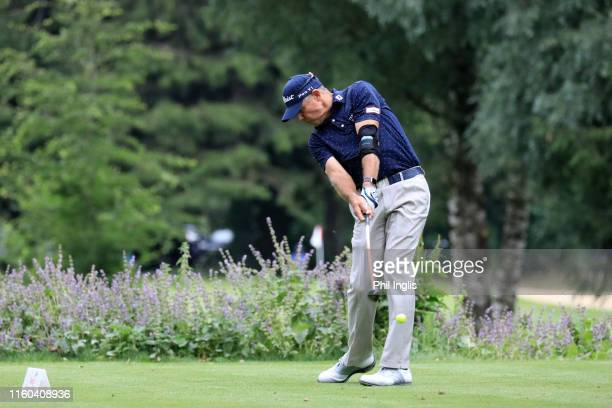 James Kingston of South Africa in action during the second round of the Swiss Seniors Open played at Golf Club Bad Ragaz on July 06, 2019 in Bad...