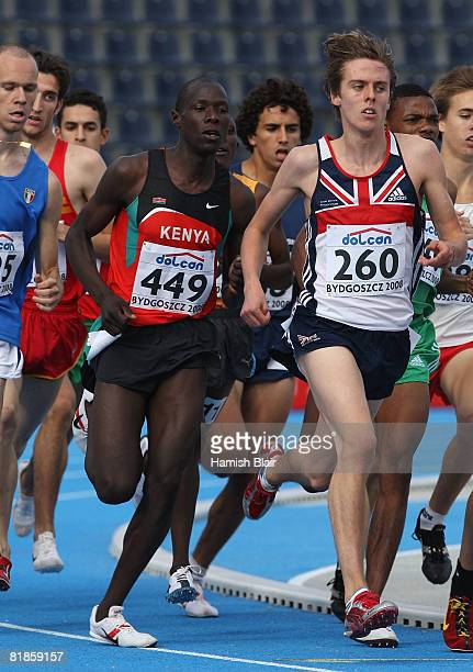 James Kiplagat Magut of Kenya and David Forrester of Great Britain in action during heat 3 of the men's 1500m during day one of the 12th IAAF World...