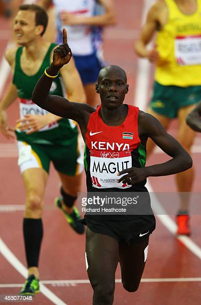 James Kiplagat Magut of Kenya celebrates winning gold in the Men's 1500 metres final at Hampden Park during day ten of the Glasgow 2014 Commonwealth...