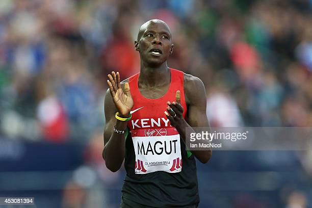 James Kiplagat Magut of Kenya celebrates winning the Men's 1500m at Hampden Park during day ten of the Glasgow 2014 Commonwealth Games on August 02,...