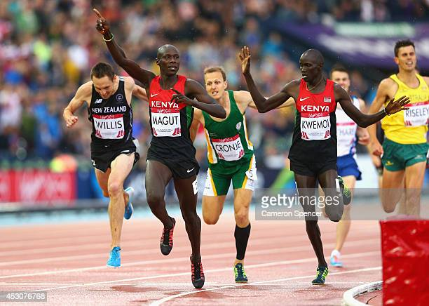 James Kiplagat Magut of Kenya crosses the line to win gold ahead of silver medalist Ronald Kwemoi of Kenya and bronze medalist Nick Willis of New...