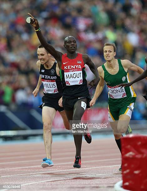 James Kiplagat Magut of Kenya wins the Men's 1500m at Hampden Park during day ten of the Glasgow 2014 Commonwealth Games on August 02, 2014 in...