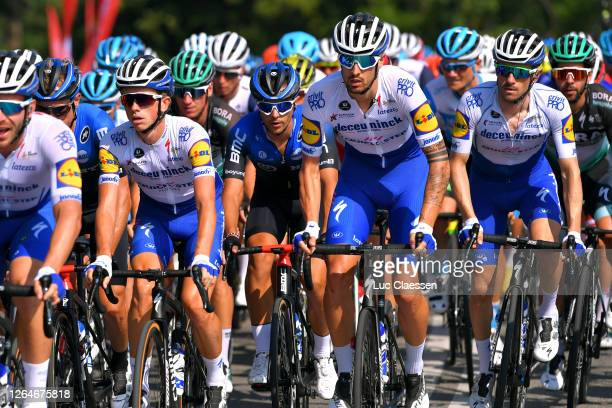 James Knox of The United Kingdom and Team Deceuninck - Quick-Step / Mattia Cattaneo of Italy and Team Deceuninck - Quick-Step / Dries Devenyns of...