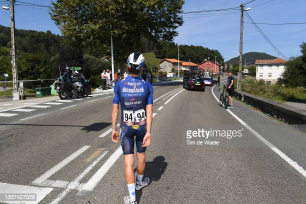 James Knox of United Kingdom and Team Deceuninck - Quick-Step injured after crash during the 76th Tour of Spain 2021, Stage 16 a 180km stage from...