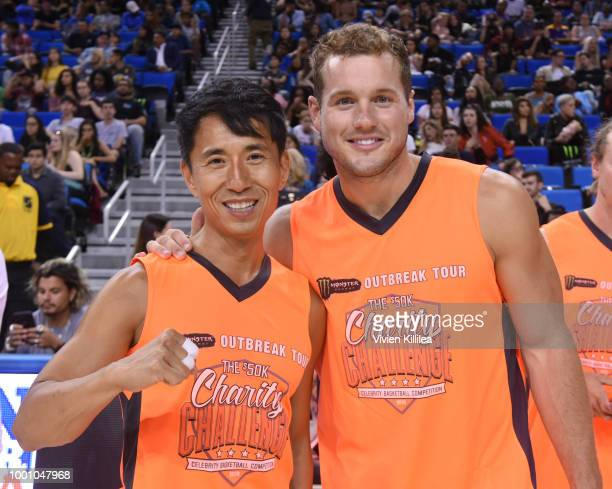 James Kyson and Colton Underwood attend Monster Energy Outbreak Presents $50K Charity Challenge Celebrity Basketball Game at UCLA's Pauley Pavilion...