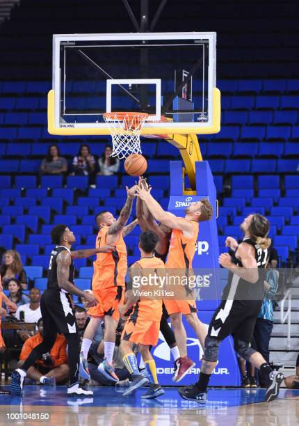 James Kyson Colton Underwood and Bryan Braman attend Monster Energy Outbreak Presents $50K Charity Challenge Celebrity Basketball Game at UCLA's...