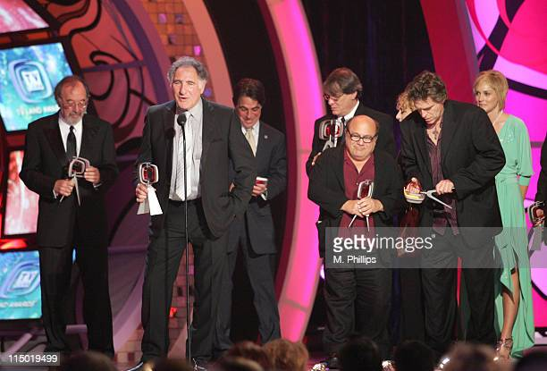 James L Brooks Judd Hirsch Tony Danza Danny DeVito Randall Carver Jeff Conaway Carol Kane winners Medallion Award for 'Taxi' and presenter Sharon...