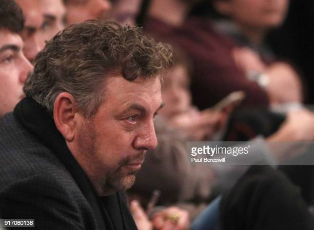 James L Dolan Executive Chairman and CEO The Madison Square Garden Company NBA Governor watches an NBA basketball game between the Atlanta Hawks and...