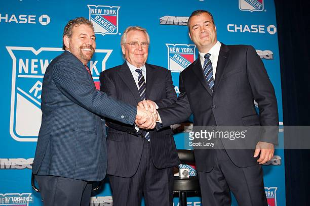 James L. Dolan, Executive Chairman of Madison Square Garden , and Glen Sather, General Manager of the New York Rangers , congratulate Alain...
