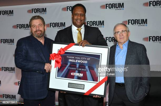 James L Dolan Executive Chairman The Madison Square Garden Company Mayor of Inglewood James T Butts and Irving Azoff CEO Azoff MSG Entertainment...