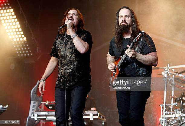 James LaBrie and John Petrucci of Dream Theater perform on day two of the High Voltage Festival at Victoria Park on July 24 2011 in London England
