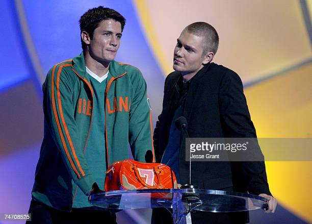 James Lafferty and Chad Michael Murray winner of Choice Male Breakout TV Star for 'One Tree Hill' at the Universal Amphitheatre in Universal City...