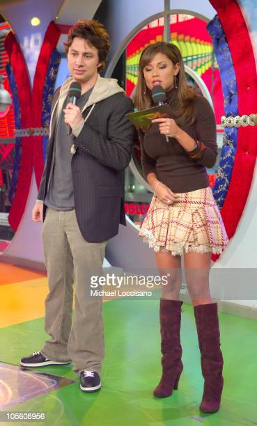 "James Lafferty and MTV VJ Vanessa Minnillo during Zach Braff and James Lafferty Vist MTV's ""TRL"" - October 26, 2005 at MTV Studios - Times Square in..."