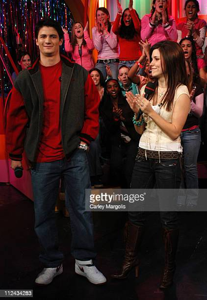 James Lafferty and Sophia Bush of 'One Tree Hill' during The Cast of 'One Tree Hill' Takes Over MTV's 'TRL' January 25 2005 at MTV Studios in New...
