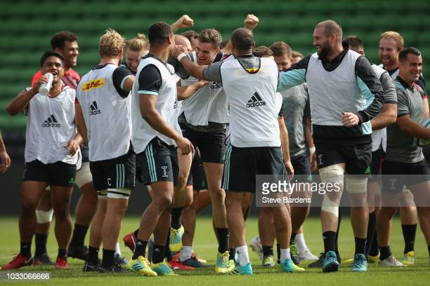 James Lang and his Harlequins team mates enjoy a joke during the captain's run at Twickenham Stoop on September 14 2018 in London England