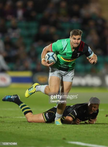 James Lang of Harlequins breaks away to score a try during the Gallagher Premiership Rugby match between Northampton Saints and Harlequins at...