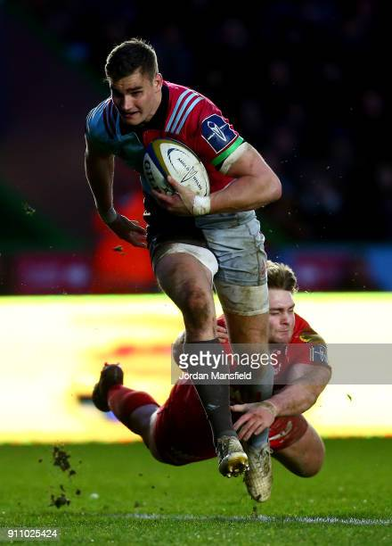 James Lang of Harlequins breaks free to touch down a try during the AngloWelsh Cup match between Harlequins and Scarlets at Twickenham Stoop on...