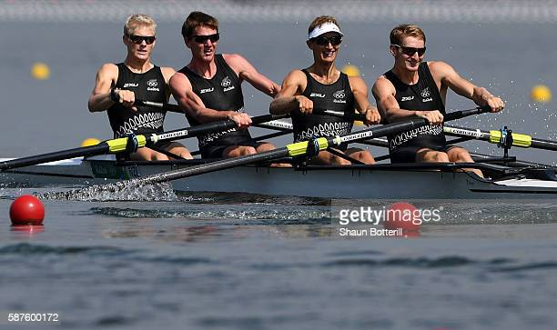 James Lassche Peter Taylor Alistair Bond and James Hunter of New Zealand compete during the Lightweight Men's Four Semifinal on Day 4 of the Rio 2016...