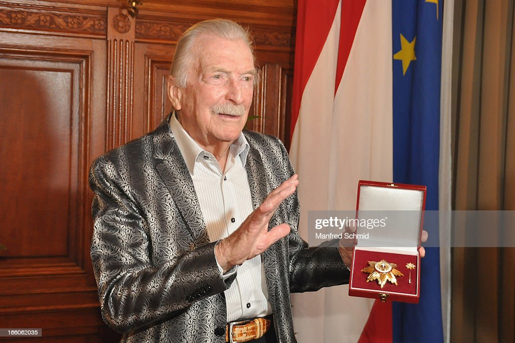 James Last accepts his 'Goldenes Ehrenzeichen fuer Verdienste um das Land Wien' given in the Rathaus Wien on April 8, 2013 in Vienna, Austria.