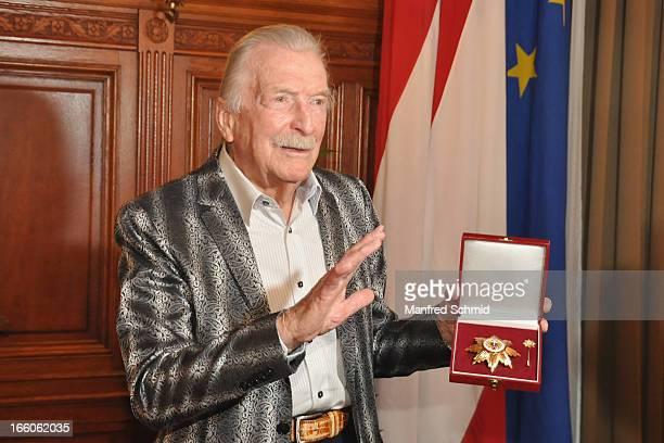 James Last accepts his 'Goldenes Ehrenzeichen fuer Verdienste um das Land Wien' given in the Rathaus Wien on April 8 2013 in Vienna Austria