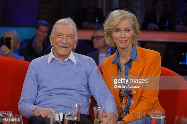 James Last and his wife Christine Grundner attend NDR Talkshow at NDR Studios on March 6 2015 in Hamburg Germany