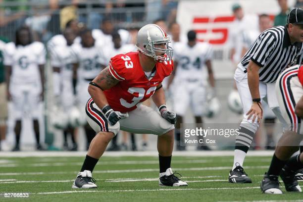 James Laurinaitis of the Ohio State Buckeyes gets ready on the field during the game against the Ohio Bobcats at Ohio Stadium on September 6, 2008 in...
