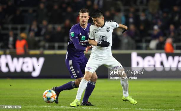 James Lawrence of Anderlecht and Yuta Toyokawa of Kas Eupen fight for the ball during the Jupiler Pro League match between RSC Anderlecht and KAS...
