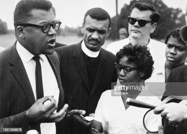 James Lawson , a spokesperson for the Freedom Riders, holds an impromptu press conference in Alabama just before the bus carrying the integration...