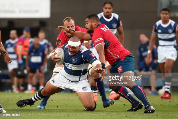 James Lay of Auckland is tackled during the Mitre 10 Cup Final between Auckland and Tasman at Eden Park on November 28, 2020 in Auckland, New Zealand.