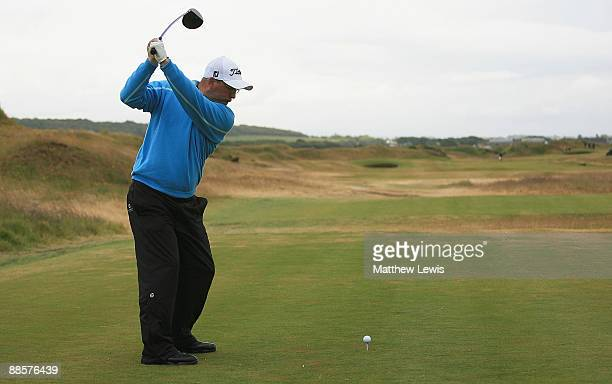 James Lee of Caerphilly tees off on the 3rd hole during the Glenmuir PGA Professional Championship at Dundonald Links on June 19 2009 in Dundonald...