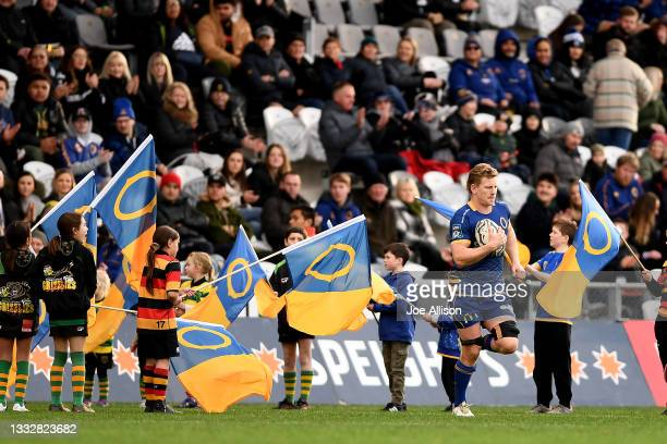 James Lentjes of Otago leads his team onto the field during the round one Bunnings NPC match between Otago and Southland at Forsyth Barr Stadium, on...
