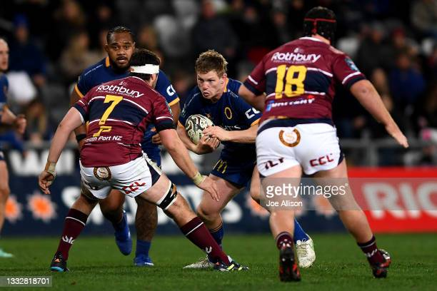 James Lentjes of Otago runs into the defence during the round one Bunnings NPC match between Otago and Southland at Forsyth Barr Stadium, on August...